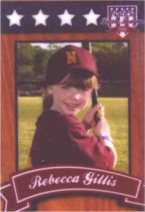 Rebecca's Little League baseball card for 2008