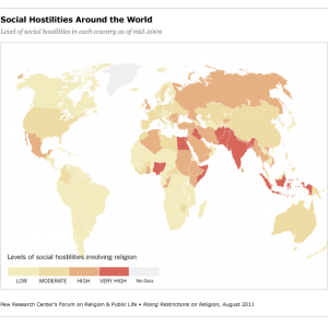 Religious Hostilities in the World, 2009 (Pew Research)